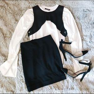 Black Mini Pencil Skirt w/ Mesh Strip
